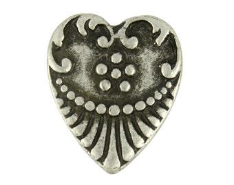 Metal Buttons - Crest Heart Antique Silver Metal Shank Buttons - 18mm - 11/16 inch - 6 pcs