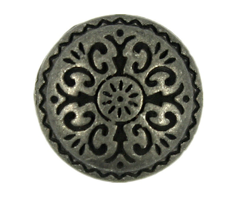 Metal buttons damascene carvings retro silver domed