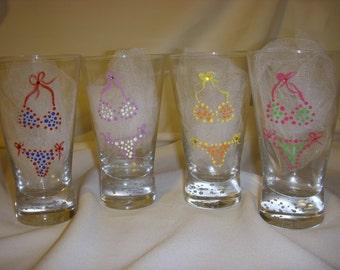Hand Painted Glasses, Flip Flop Glasses, Bikini Glasses!
