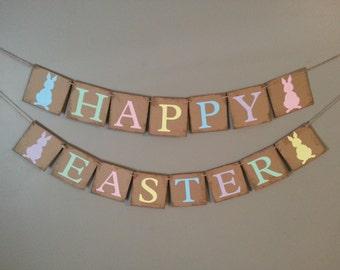 HAPPY EASTER Banner , Bunny Easter Banner , Happy Easter , Easter Decoration , Easter Rabbit Banner , Easter Sign, Easter Banner