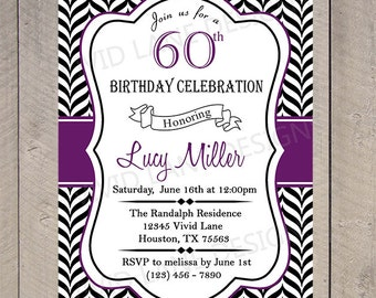Adult Birthday Invitation, Invite, 21st, 25th, 30th, 40th, 50th, 60th, 70th, 80th Black and White Chevron, Purple 6058