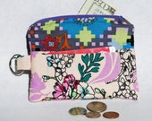 Change Purse Wallet Zipper Fabric Orchid Teal Blue Credit Card Picket Key Ring