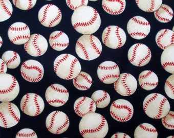 Fabric, Baseballs on Navy Blue, Alexander Henry Fabric, By The Yard