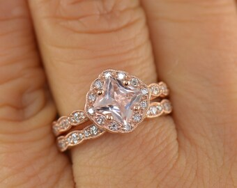 Caroline Set - Morganite and Diamond Engagement Ring and Diamond Wedding Band in Rose Gold, Princess Cut Kite Set Halo, Free Shipping