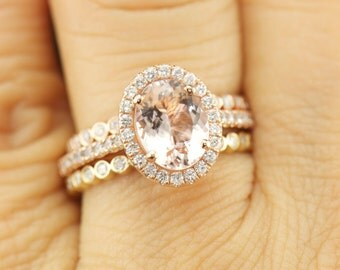 Oval Morganite Halo Engagement Ring and Diamond Bubble Wedding Bands, Bezel Set, Shared Prong, Stackable, Free Shipping, Maria Trio