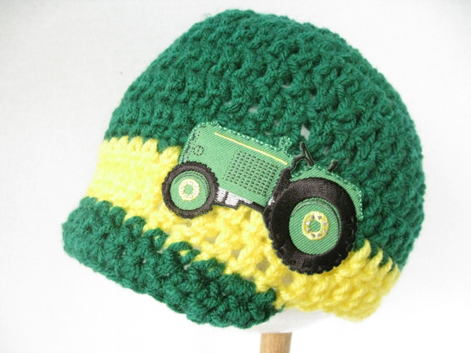 Deere Infant Hat Crochet Pattern : Baby boy brimmed tractor hat crocheted by TheStylishHatter ...