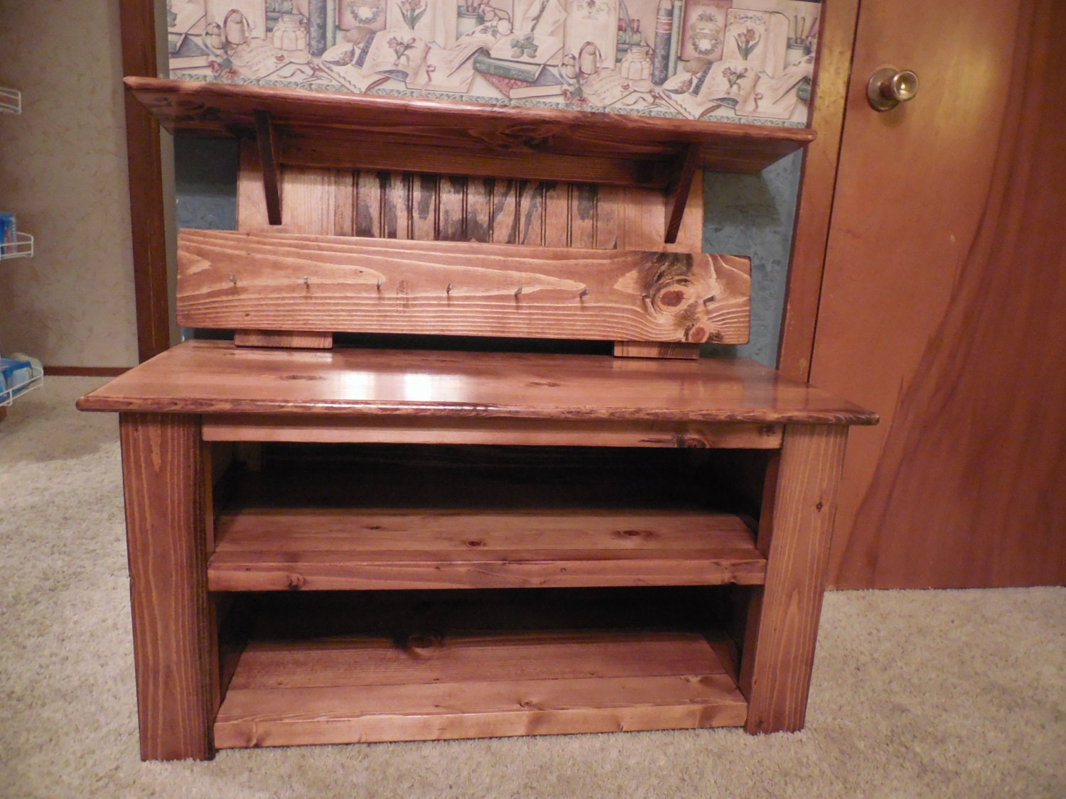 Cubby Bench And Coat Rack Shelf Set