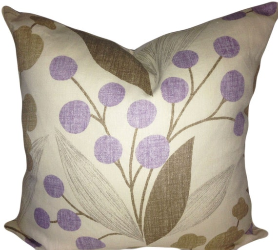 Kravet Purple and Tan Floral Capparis Decorative Pillow Cover