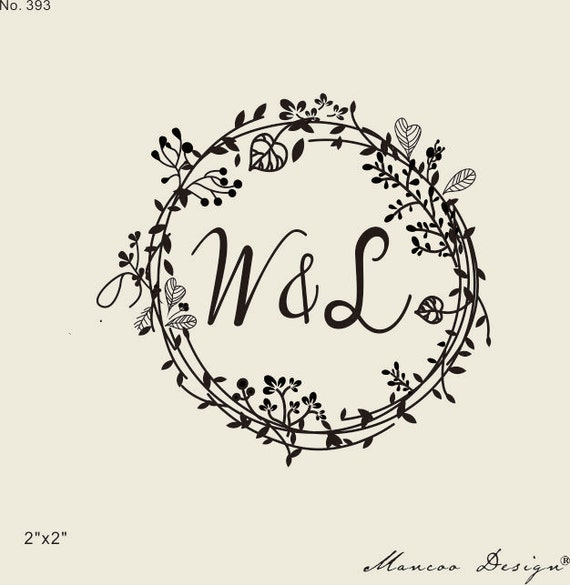 Wedding stamps floral frames rubber stamp custom initial for Como hacer sellos