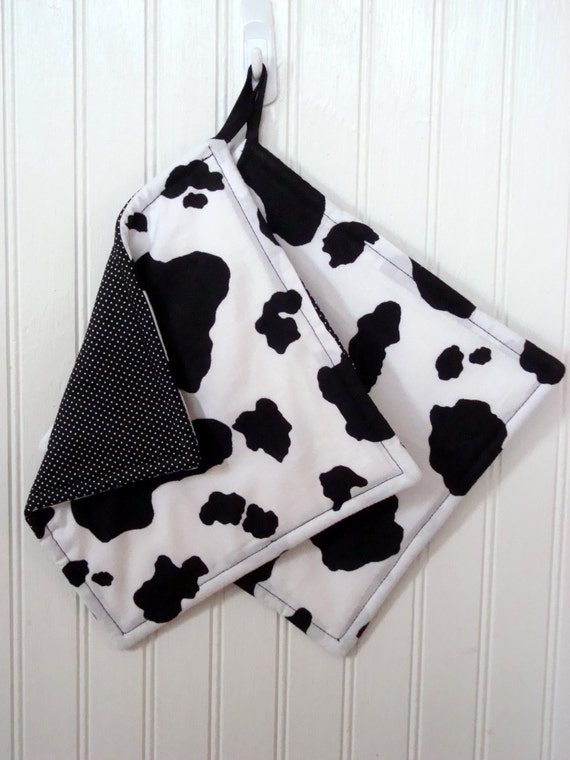 Cow Pot Holders Set Of 2 Cow Print Cow Hide Potholders Gift