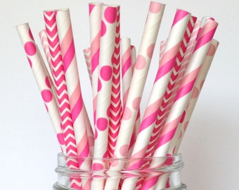 Pink Princess Party: Hot Pink Straws - Bright Pink Straws in Polka Dot, Stripe and Chevron, 25 ct. package