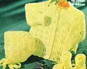 baby matinee coat and bonnet set vintage knitting pattern PDF instant download