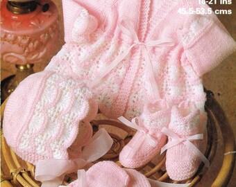 Marriner 1931 baby matinee coat and bonnet set vintage knitting pattern PDF