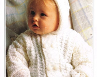 baby hoodie cardigan vintage knitting pattern PDF instant download