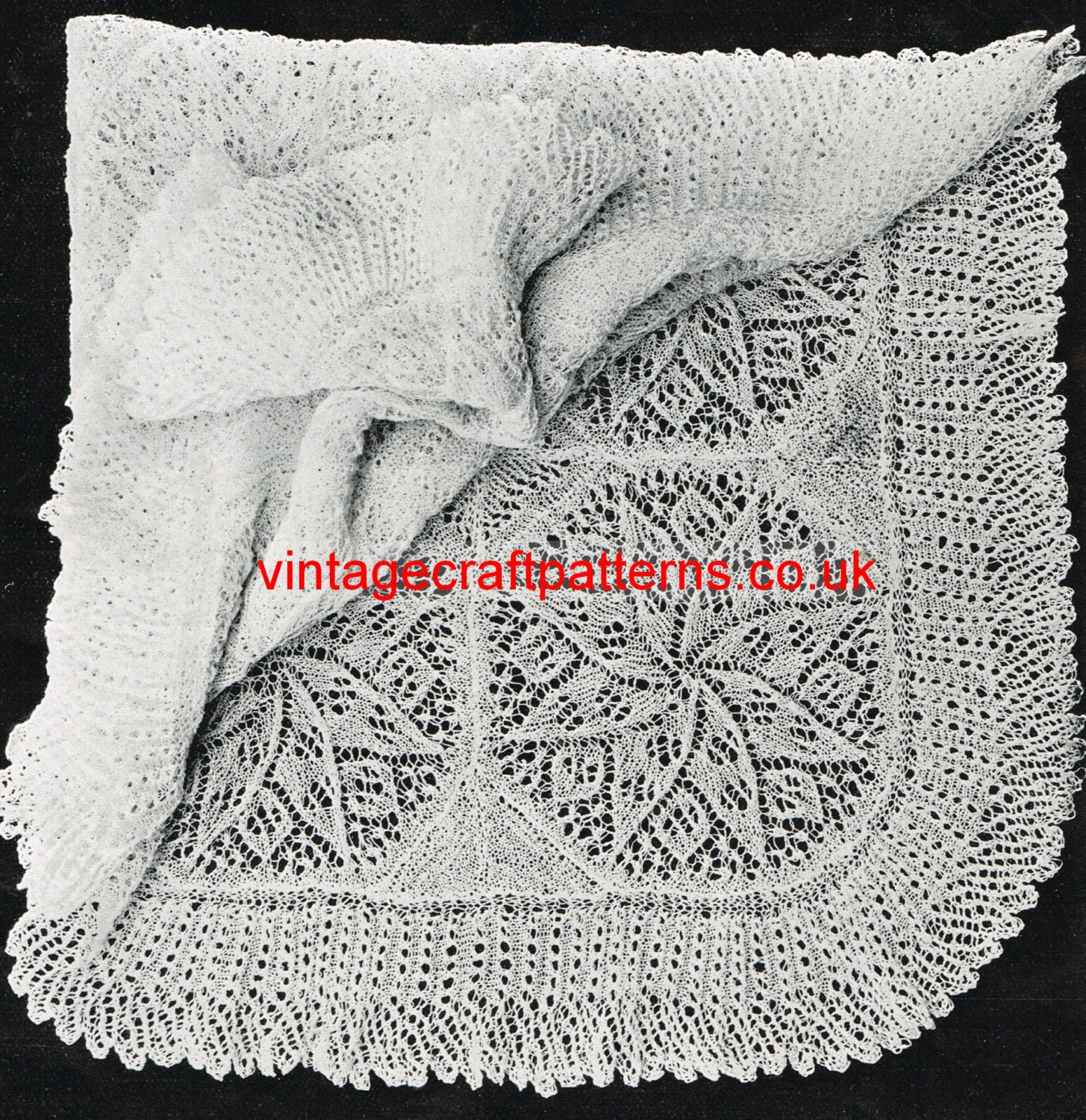 Knitted Square baby shawl viennese lace style vintage knitting