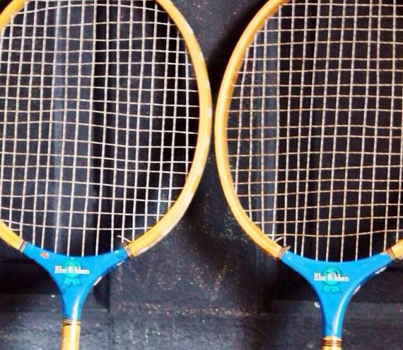 vintage raquette de badminton bois raquette de tennis de pabst. Black Bedroom Furniture Sets. Home Design Ideas
