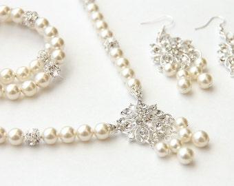 Bridal Jewelry Set, Ivory Swarovski Pearl Bridal Jewelry Set, Pearl Necklace Earrings Bracelet Set,  art. 190  Grazia Nova