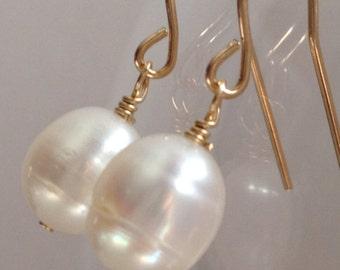 freshwater pearl earrings, 14k gold filled earwire