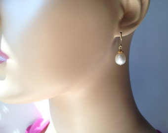 freshwater pearl earrings, gold filled accents and earwire