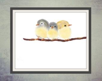 Digital Print, Printable Art, Digital Art,  Animal Illustration, Animal Art : Birds