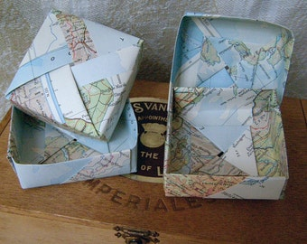 Vintage paper origami map boxes