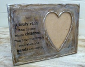 Father's Heart Frame with saying in a brown glazed coloring with shimmery accents office decor grandpa frame