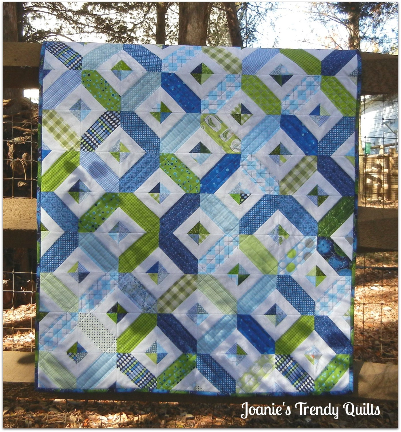 Modern baby quilt for a boy for Boy quilt fabric