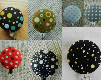 Colorful Dots and More Dots, Retractable ID Name Badge Holder Reel