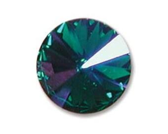 EMERALD GLACIER BLUE Rivolis Swarovski Rivoli Stones Crystal Elements 12mm Qty 2 Foiled