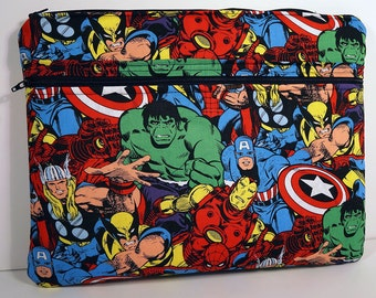 "Marvel Comic Book Laptop Macbook Pro or Air Case Sleeve with Zipper 13"" 15"" Hulk Thor Wolverine Captain America Ironman"
