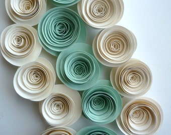 Paper Flowers Mint and Ivory Paper Flowers Wedding Decorations 25 Flowers