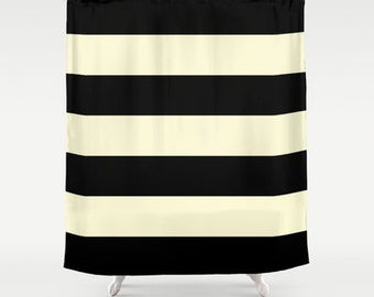 Black and Cream Stripe Shower Curtain   Chic Designer Decor   Minimalist   bathroom  modernFloral Heart Shower Curtain Rose for her Heart. Black And Cream Shower Curtain. Home Design Ideas