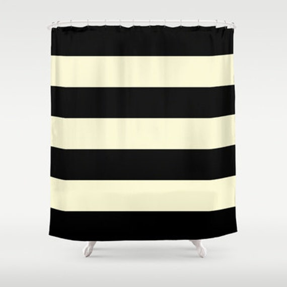Black And Cream Chevron Curtains Black and Peach Shower Curtain