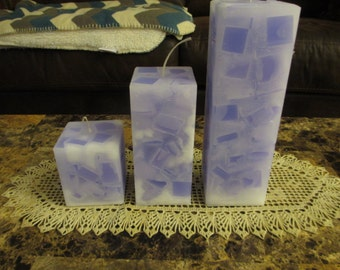 Chunk Square Pillar Candle Set
