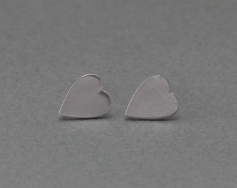 Heart Post Earring . Earring Component . 925 Sterling Silver Post . Matte Original Rhodium Plated over Brass  / 2 Pcs - FC025-MR