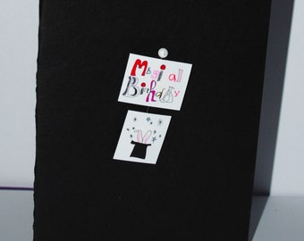 vintage style magical  magic trick  black card magician