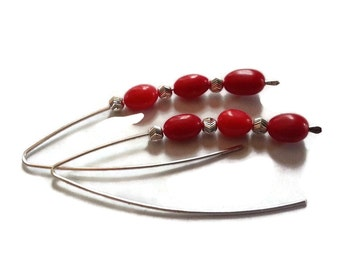 Sterling Silver Red Bamboo Coral Elegant Earrings Trending Artisan OOAK Jewelry Trendy Gift for Her 2015 Trends