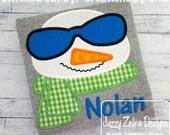 Boy Snowman with Sunglasses Applique Design