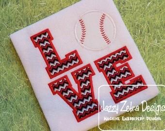Love Baseball Applique Design