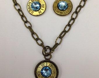 9mm bullet ammo jewelry birthstone necklace earrings March Aquamarine Birthstone