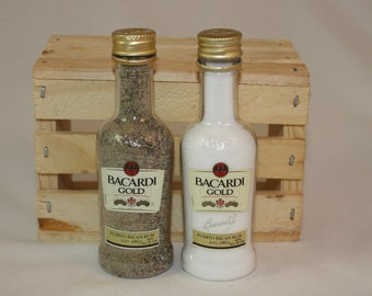 Bacardi Gold Salt and Pepper Shaker, Upcycled Liquor Bottles