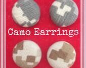 US Marine Corps Military Camo Uniform Fabric Button Earrings