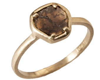 14kt Yellow Gold, Natural Diamond Slice Ring. Handmade by Gevani Jewelry.