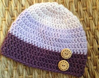 Purple Ombré Crochet Hat