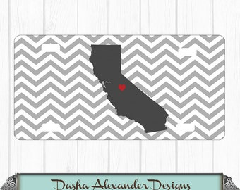 Chevron State License Plate California Car Tag - Any color - Any State - Personalized Car License Plate -  Sweet 16 Gift for Girl - Car Tag!