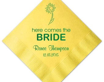 100 Personalized Napkins Personalized Napkins Bridal Shower Daisy Daisies Wedding Napkins Custom Monogram