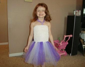 Purple and white tutu dress, Ready to Ship!