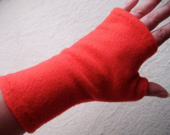 Red Fingerless Fleece Gloves, Fingerless Arm Warmers, Fingerless Mittens