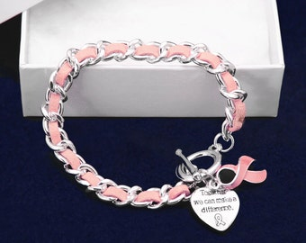 Pink Ribbon Breast Cancer Bracelet - Leather Rope (RE-B-04-1)