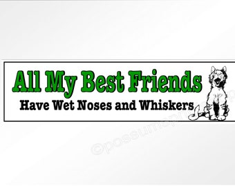 Funny car bumper sticker. All my best friends have wet noses and whiskers. with cute cartoon cat  220 x 60 mm decal
